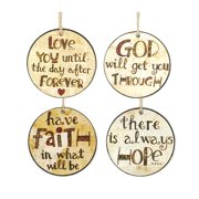 Blossom Bucket 4 Piece Faith/Love/Hope/God Round Tags Wall Decor Set