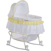 Dream On Me Lacy Portable 2-in-1 Bassinet And Cradle, Yellow/White