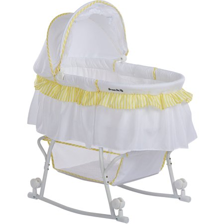 - Dream On Me Lacy Portable 2-in-1 Bassinet And Cradle, Yellow/White