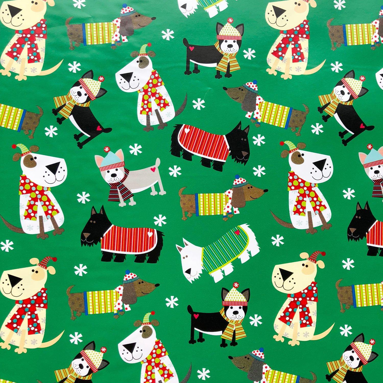 Jillson & Roberts Gift Wrap, Christmas Dog (8 Rolls 5ft x 30in)