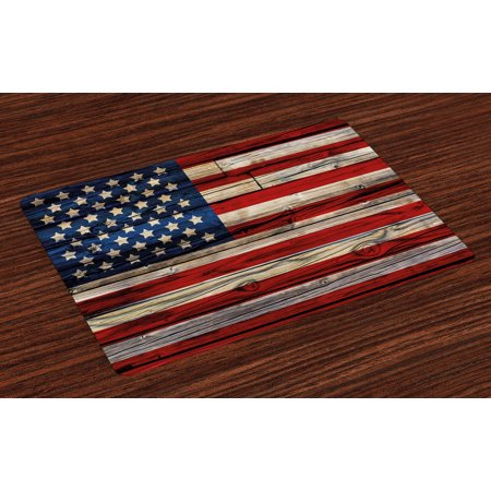 4th of July Placemats Set of 4 Wooden Planks Painted as United States Flag Patriotic Country Style, Washable Fabric Place Mats for Dining Room Kitchen Table Decor,Red Beige Navy Blue, by Ambesonne