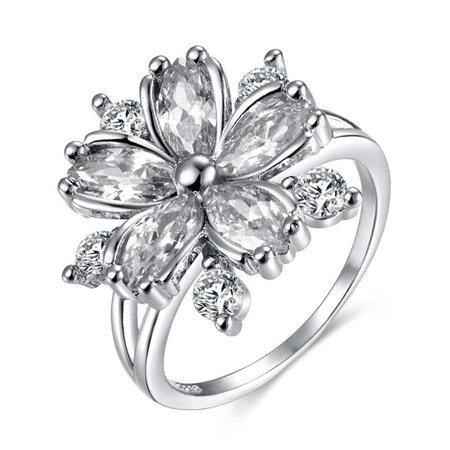 KABOER Women Fashion Cherry Blossom Zircon Floral Finger Diamond Ring Size 6-10