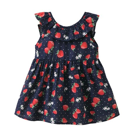 Styles I Love Little Kid Girls Sunflower Strawberry Print Sleeveless Cotton Summer Dress Casual Clothes Outfit (Strawberry Navy Blue, 100/2-3 Years) - Strawberry Shortcake Outfits