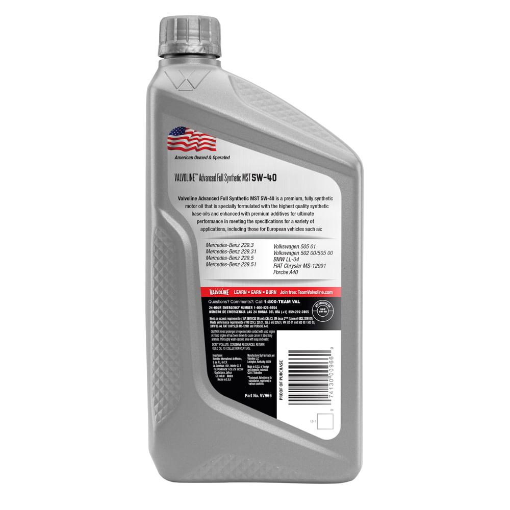 valvoline advanced full synthetic sae 5w 40 mst motor oil. Black Bedroom Furniture Sets. Home Design Ideas
