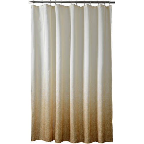 """Bath Bliss Polyester Lace Printed ombre Shower Curtain, 70"""" x 72"""""""