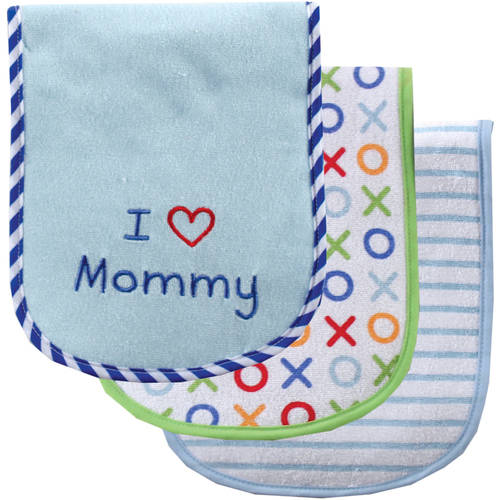Luvable Friends I Love Burp Cloth, 3pk, Choose Your Color