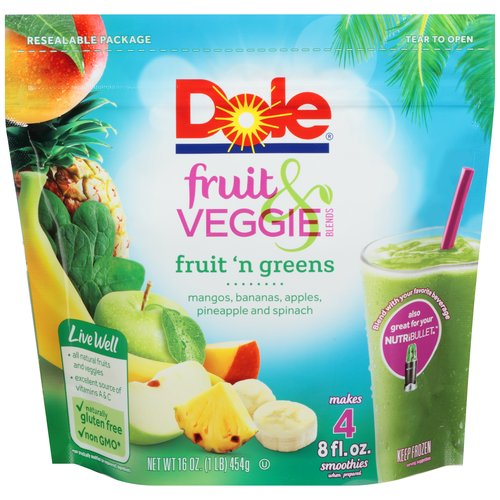 Dole Fruit & Veggie Blends Fruit 'n Greens Smoothies, 16 oz