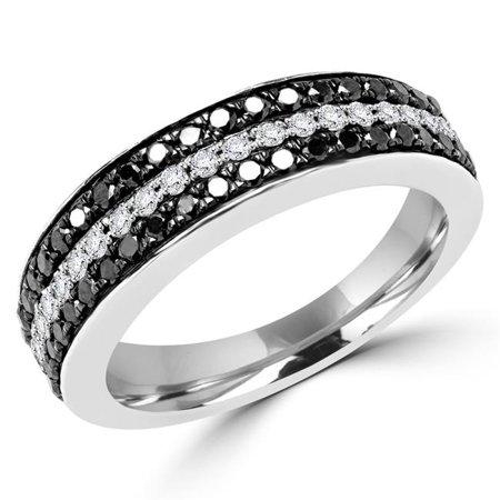 Majesty Diamonds MDR140085-8.25 0.5 CTW Round Black Diamond Semi-Eternity Wedding Band Ring in 14K White Gold - Size 8.25 - image 1 de 1
