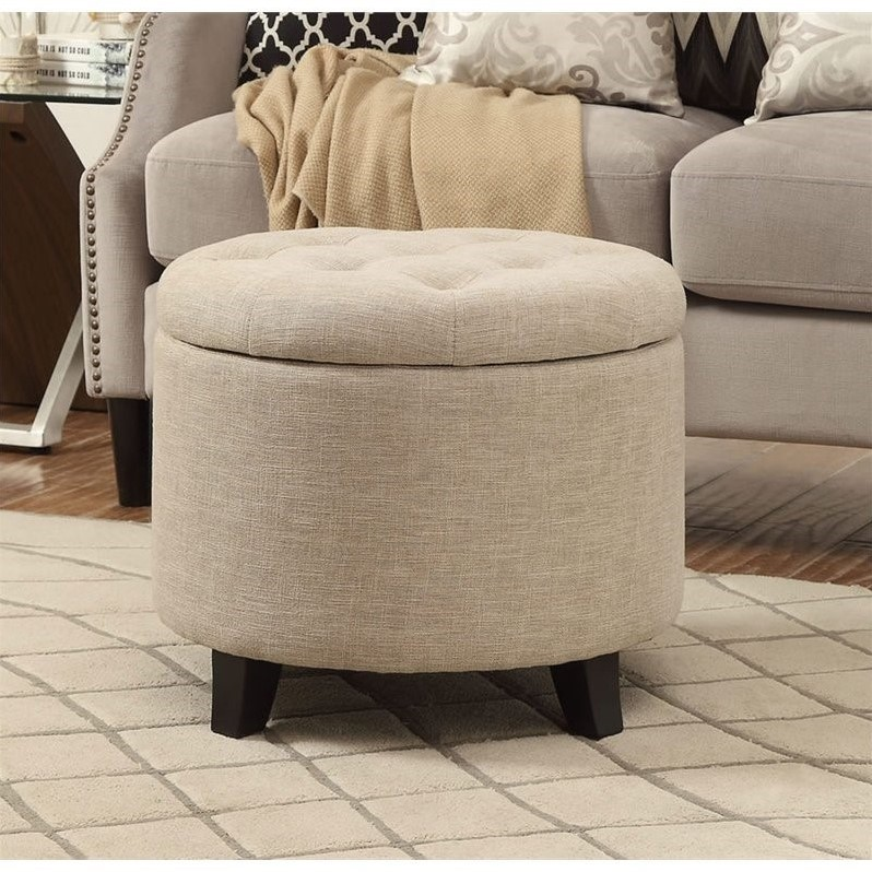 Convenience Concepts Designs4Comfort Round Ottoman in Tan - image 1 of 4