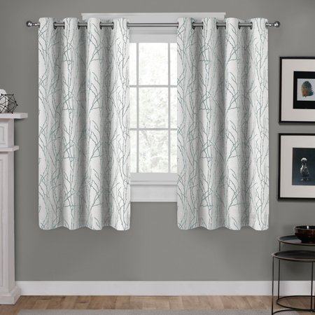 Exclusive Home Curtains 2 Pack Branches Linen Blend Grommet Top Curtain -