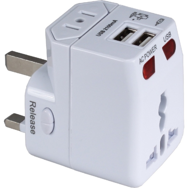 QVS Travel Power Adapter with Surge Protection and Dual 2.1-Amp USB Charger