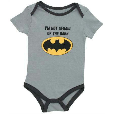Batman DC Comics Im Not Afraid of the Dark Baby Creeper Romper Snapsuit (Baby Batman Suit)