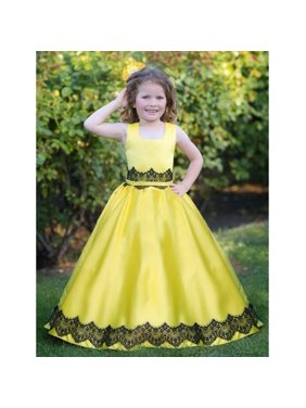 c0f1c20df4 Product Image Triumph Dress Little Girls Yellow Black Holiday Ruslana Flower  Girl Dress