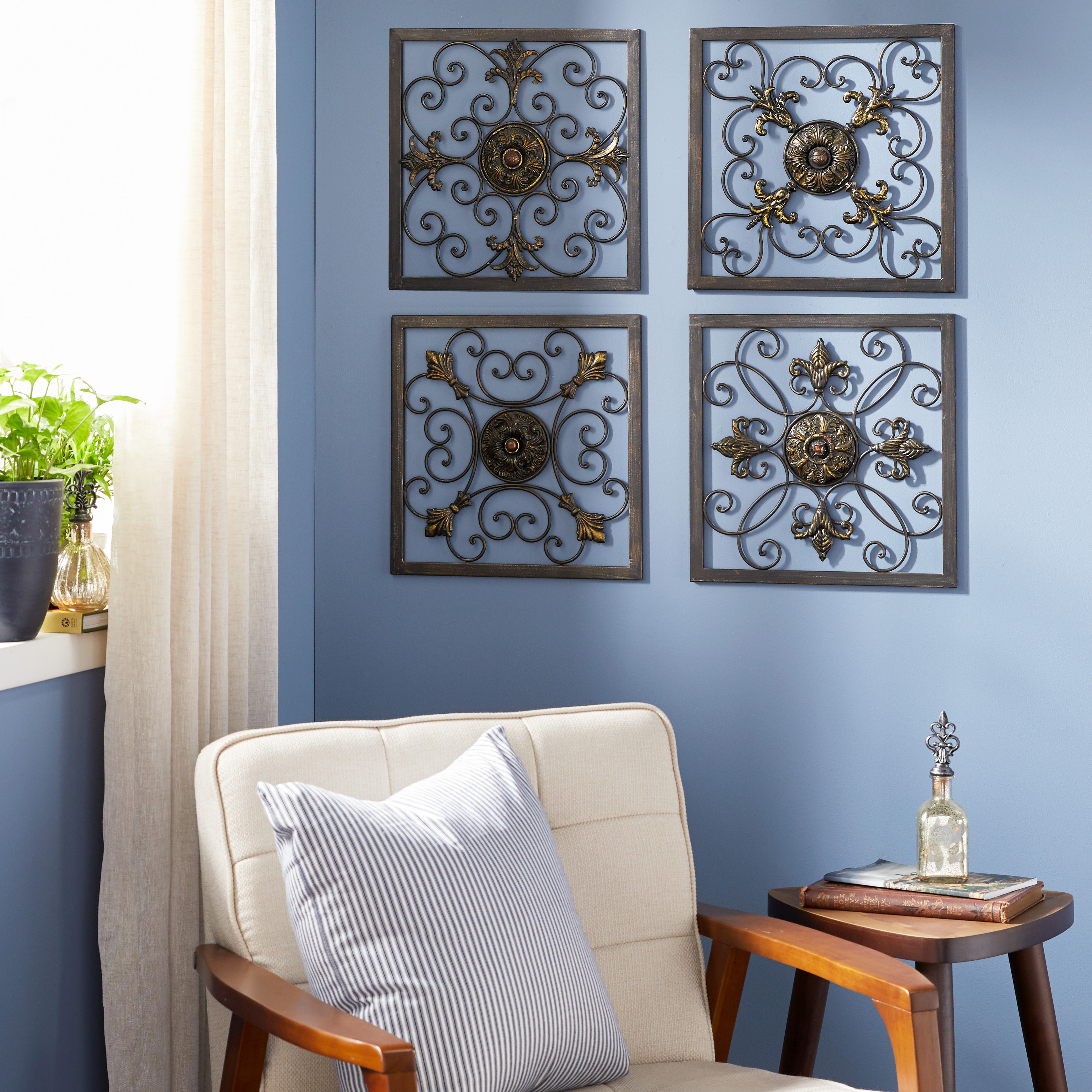 Image of: Decmode Indoor Rustic Brown Iron Wall Decor Set Of 4 Walmart Com Walmart Com