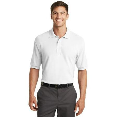 K448 Mens 100 Percent Pima Cotton Polo T-Shirt, White - Large