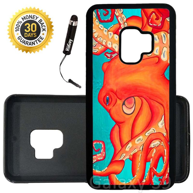 Custom Galaxy S9 Case (Deep Water Octopus Turquoise Orange) Edge-to-Edge Rubber Black Cover Ultra Slim | Lightweight | Includes Stylus Pen by Innosub