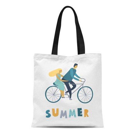 JSDART Canvas Bag Resuable Tote Grocery Shopping Bags Flat Happy Young Man and Woman Have Fun Time Loving Tote Bag - image 1 of 1