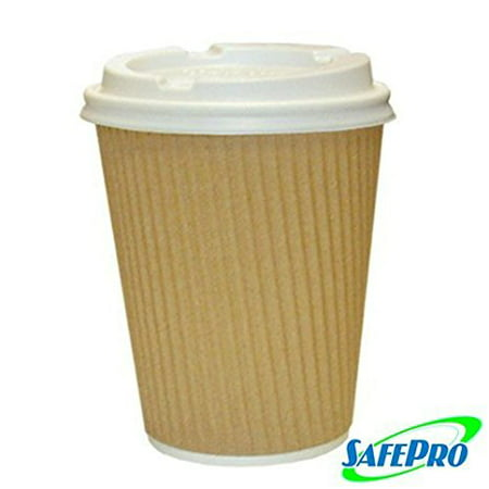 SafePro 12 oz Kraft Ripple Paper Hot Coffee Cups and Tea Cups 12 ounces with Cappuccino Lids (Case of 100)