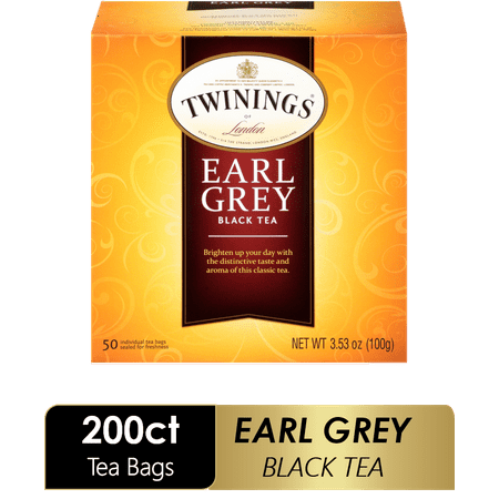 (4 Boxes) Twinings of London Earl Grey Black Tea Bags , 50 Ct., 3.53 oz.