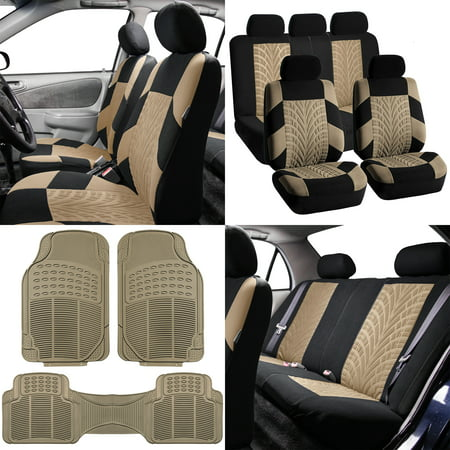FH Travel Master Car Seat Covers for Auto, Full Seat Covers Set with Beige  Floor Mats, Beige Black