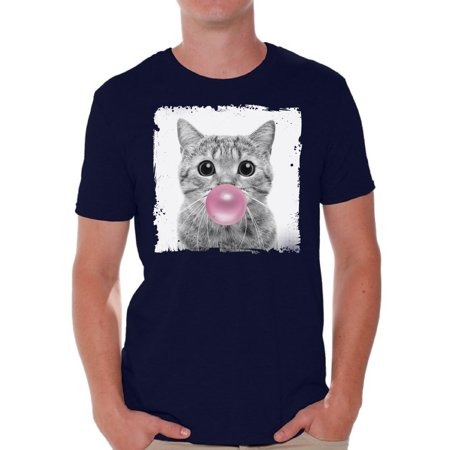 Awkward Styles Funny Cat Shirt Gifts for Him Funny Men T Shirt Little Cat Tshirt Cat with Pink Gum T Shirt Cat Clothing Animal T-Shirt for Men Funny Animal Gifts Cat T Shirt Cute Animal T Shirt - Cute Little Clothes Coupon