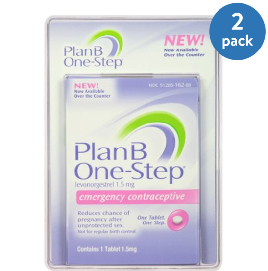 (2 Pack) Plan B One-Step Levonorgestrel 1.5 Mg Emergency Contraceptive Tablet - 1 Ea