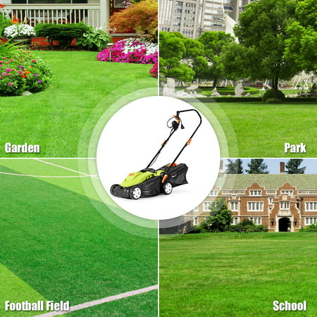 14-Inch 12Amp Lawn Mower w/Folding Handle Electric Push Lawn Corded Mower Green - image 7 of 10