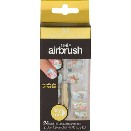 Pretty Woman Airbrush Artificial Nails Kit, Light Blue Floral, 28 pc