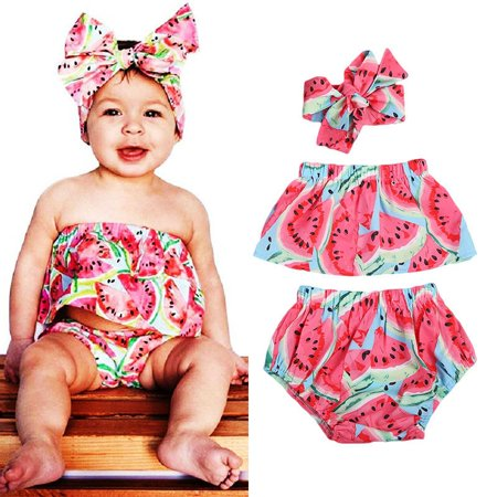 7c535ffc106c Emmababy - Toddler Baby Girls Outfit Romper Tops Shorts Headband Watermelon  Clothes 0-24M - Walmart.com