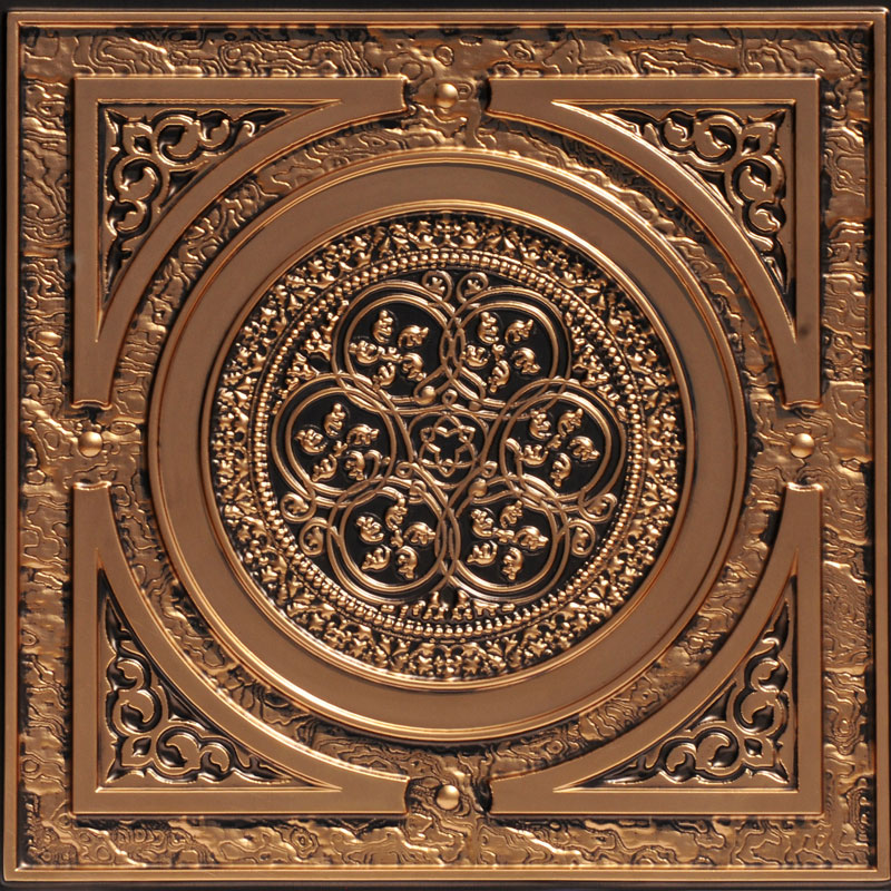 Steampunk 2 ft. x 2 ft. PVC Glue-up or Lay in Ceiling Tile in Antique Copper