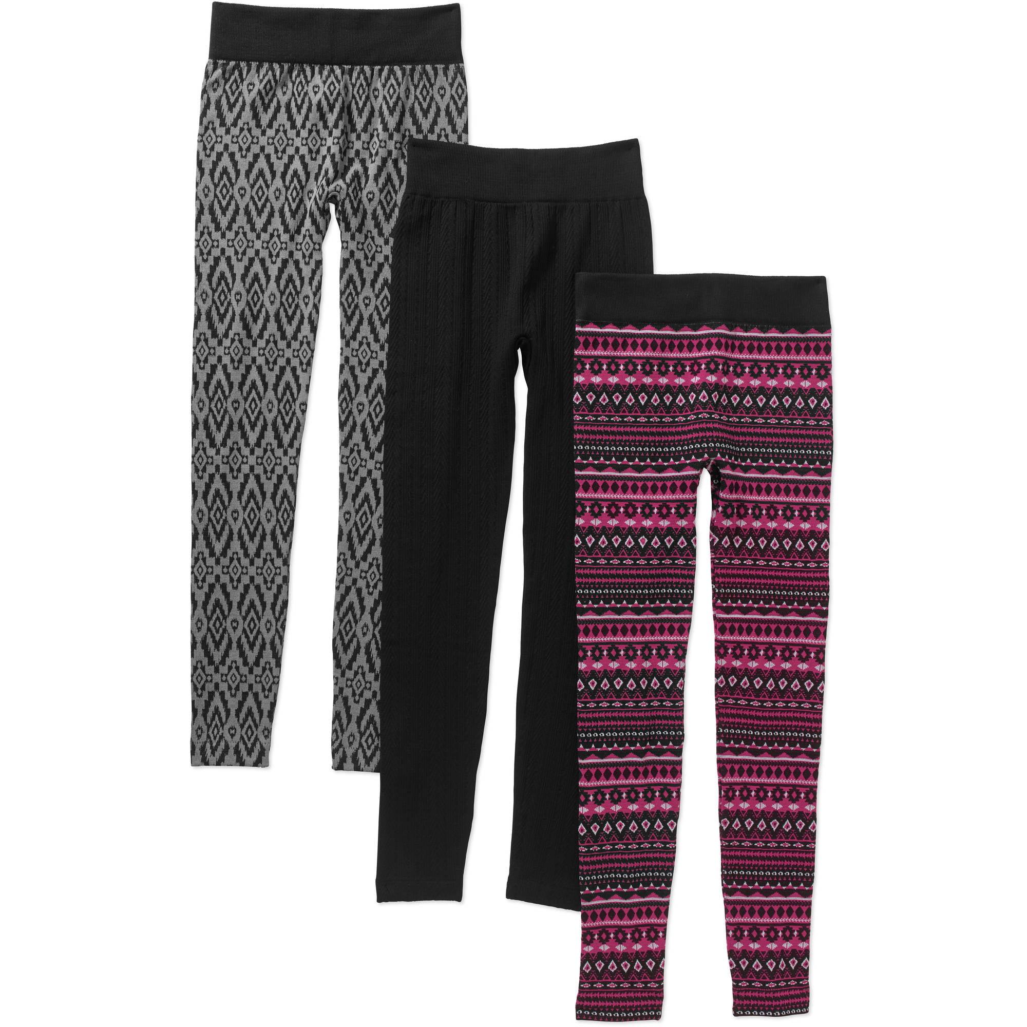 No Boundaries Juniors' Holiday Cozy Knit Fleece Leggings, 3pk Value Bundle