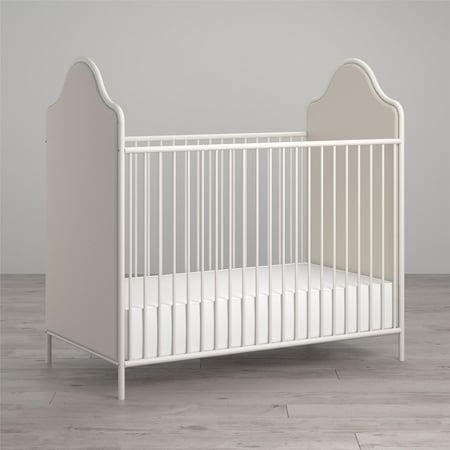 Little Seeds Piper Upholstered Metal Crib, Cream