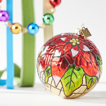 Stained Glass Ornaments (Stained Glass POINSETTIA Glass Ball Christmas Ornament, by)