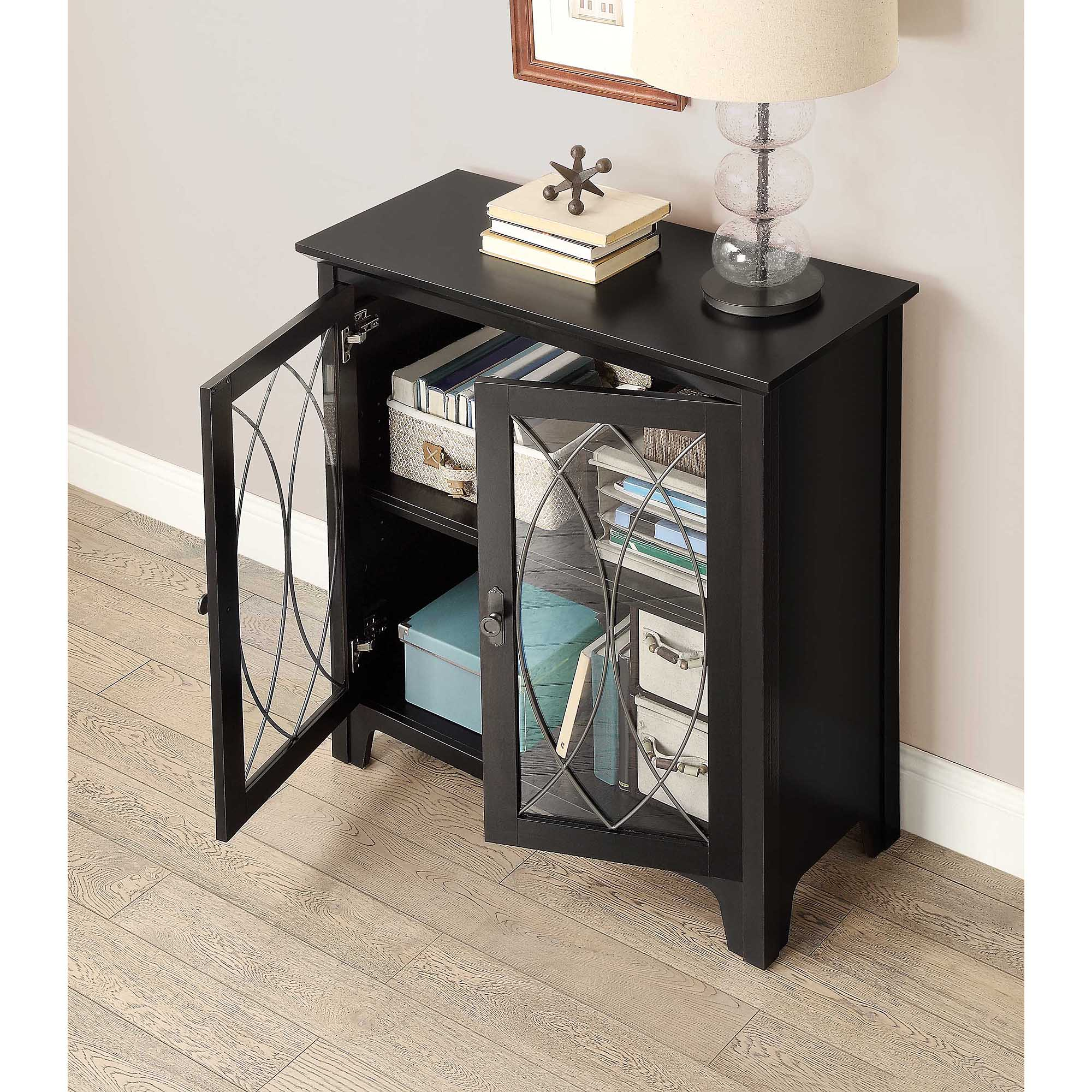 Whalen Dining And Accent Storage Cabinet Charcoal Black Finish