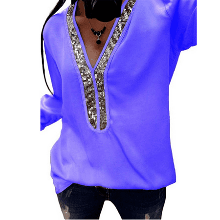 Women's V Neck with Sequin Decor Long Sleeve T Shirt Casual Loose Blouse Tee Tops