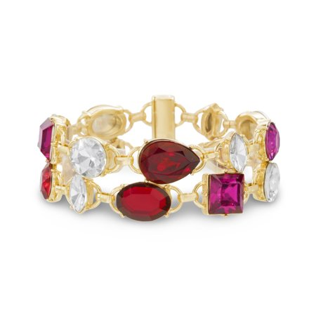 Catherine Malandrino Women's Red, White and Hot Pink Rhinestone 2-Row Yellow Gold-Tone 7.5