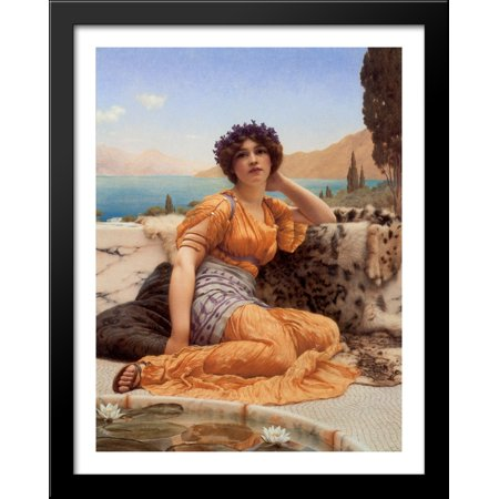 With Violets Wreathed and Robe of Saffron Hue' 28x36 Large Black Wood Framed Print Art by John William Godward