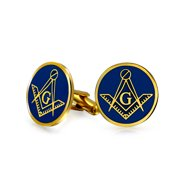 Shield Round Freemasons Compass Symbol Masonic Cuff Links For Men Blue Black Enamel Two Tone Silver Or Gold Tone Stainless Steel Hinge Bullet Back