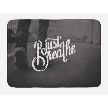 (Just Breathe Bath Mat, Teenager in Sneakers Walking on a Street Youth Culture Urban Scene, Non-Slip Plush Mat Bathroom Kitchen Laundry Room Decor, 29.5 X 17.5 Inches, Charcoal Grey White, Ambesonne)