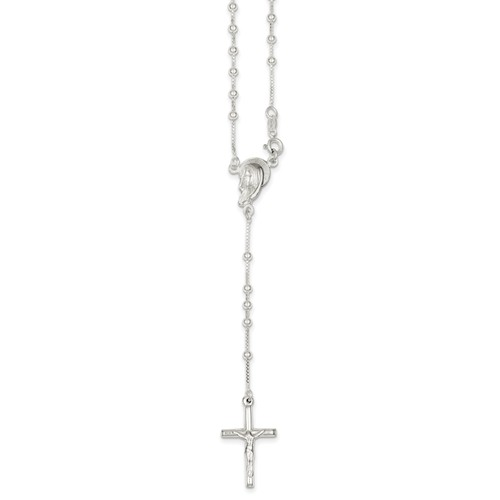 Sterling Silver 18in Polished Rosary Necklace