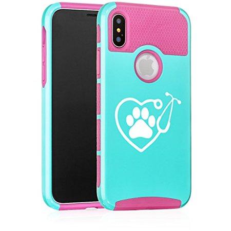 For Apple (iPhone X) Shockproof Impact Hard Soft Case Cover Heart Stethoscope Vet Tech Veterinarian (Light Blue-Hot Pink)