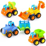 Kids Friction Powered Cars Toy,4 Pack Push and Go Tractor & Truck Toys for 3 years old up Boy & Girl,Construction Vehicles Toys for Toddler,Tractor, Bulldozer, Cement Mixer Truck and Dumper