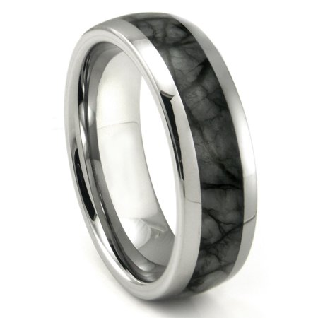 Tungsten Carbide Grey Metamorphic Stone Inlay Dome Wedding Band Ring Sz 10.0