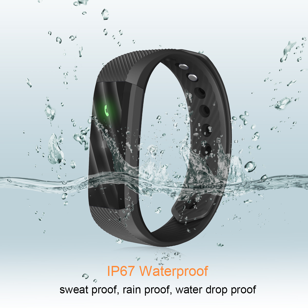 Diggro ID115 LITE Smart Bracelet Bluetooth 4.0 Pedometer Calorie Sleep Monitor Call/SMS Reminder Sedentary Reminder for Android IOS (Black)