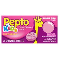 Pepto Kid's Chewable Tablets for Upset Stomach,Bubblegum Flavor 24 Ct