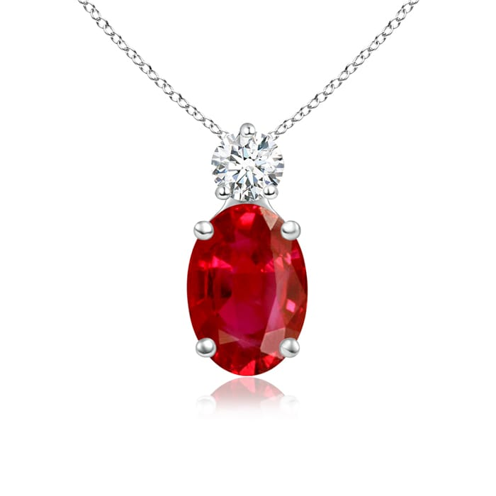 Angara Oval Diamond Ruby Pendant in Platinum - July Birthstone Pendant QOMfdBy