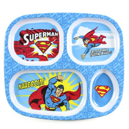 DC Comics Divided Melamine Plate, Wonder Woman, Superman Set Waterproof tested Large Wet March Bumkins Caped Reusable and Dishware Woman Bowl Superbib.., By Bumkins