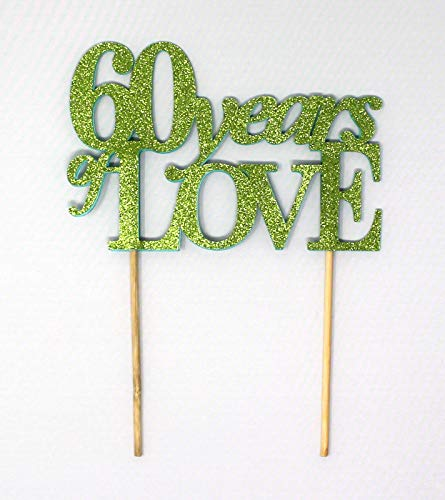 All About Details 60 Years of Love Cake Topper, 1PC, 60th year anniversary, 60th birthday (Green)