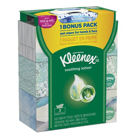 Kleenex Facial Tissues With Lotion 120 Sheets Per Flat