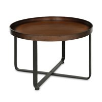 Kate and Laurel Zabel Modern Round Metal Coffee Table with Criss Cross Base, Bronze and Black